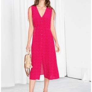 & Other Stories - Red Midi Dress